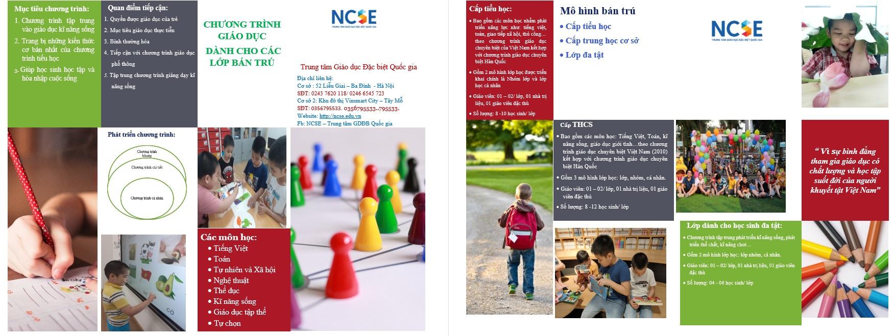 Chương trình giáo dục dành cho lớp bán trú tại Trung tâm Giáo dục Đặc biệt Quốc gia